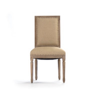 Louis Side Chair - Hemp Linen and Limed Grey Oak