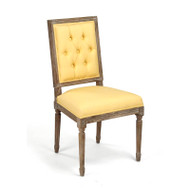 Tufted Louis Side Chair - Yellow Linen