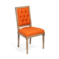 Tufted Louis Side Chair - Orange Linen