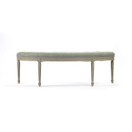 Louis Curve Bench - Sage Linen and Birch