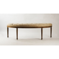 Louis Curve Bench - Natural Linen and Stained Oak Wood