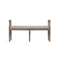 Nicolas Tufted Bench - Natural Linen and Limed Grey Oak