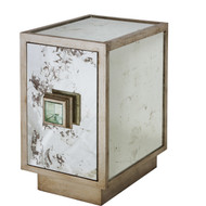 Savannah Antique Mirror And Champagne Silver Leaf One Door Side Table Cabinet