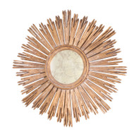 Margeaux Handcarved Gold Leaf Starburst Mirror Center Is Antiqued Mirror