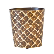 Oval Wastebasket Brown And Gold
