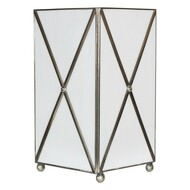 White Glass Crosshatch Wastebasket With Silver Detailing