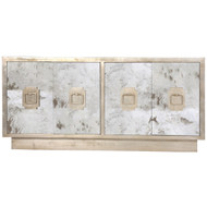 Ponti Antique Mirror 4-Door Entertainment Console With Champagne Silver Leaf Detailing