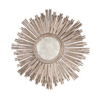 Margeaux Handcarved Champagned Silver Leaf Mirror Inset In Antique Mirror