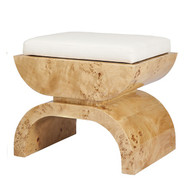 Biggs Burl Wood Stool With A White Linen Cushion