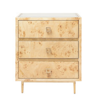 Worlds Away Hyde 3 Drawer Burl Wood Side Table With Gold Leaf Accents & Base
