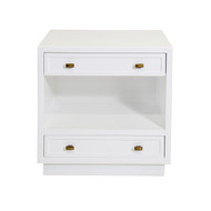 Warren White Lacquer 2 Drawer Nightstand With Open Shelf