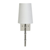 Molly Nickel Plated Sconce With Bamboo Detail & White Linen Shade