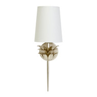 Delilah Silver Leaf One Arm Sconce With 3 Layer Leaf Motif & White Linen Shade
