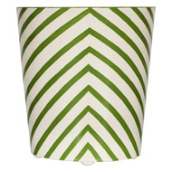 Oval Wastebasket Cream And Green Zebra