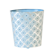 Oval Wastebasket Blue And Silver