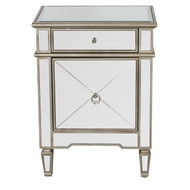 Claudette Mirrored Nightstand With Painted Silver Edge And Crosshatch Detailing