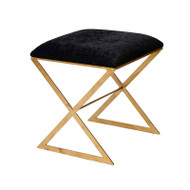 """X"" Side Stool In Gold Leaf With Black Velvet Top"