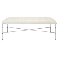 Stella Nickel Plated Bamboo Bench With White Vinyl Upholstery