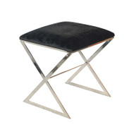 """X"" Side Stool In Nickel Plate With Black Velvet Top"