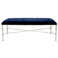 Stella Nickel Plated Tufted Bench With Navy Velvet Upholstery