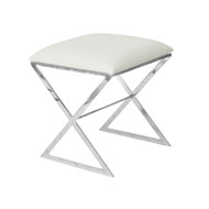 """X"" Side Stool In Nickel Plate With White Faux Ostrich Top"