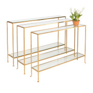 Woodard Small Hammered Gold Leaf Console With Clear Glass Shelves