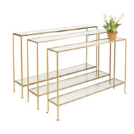 Woodard Hammered Gold Leaf Console With Clear Glass Shelves
