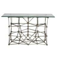 "Molecule Silver Leaf Iron Console Table With Rectangular 22"" X 54"" Glass Top"