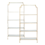 Chloe Silver Leafed Etagere With Clear Glass Shelves