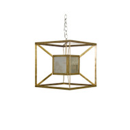 Maxwell Gold Iron Box Pendant With Antique Mirror