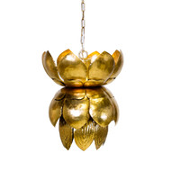 Blossom Metal Gold Leaf Pendant With Leaves