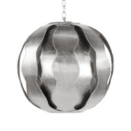 Emilio Brutalist Wave Ball Pendant In Silver Leaf