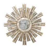 Rinaldo Starburst Mirror In Champagne Silver Leaf With Antique Mirror Center