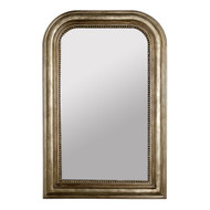 Waverly Champagne Silver Leaf Handcarved Curved Top Rectangular Mirror Nonantiqued Mirror Insert