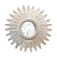 Santo Small Champagned Silver Leaf Starburst Mirror With Antique Mirror Inset
