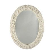 Heather Oval Mirror With Frame Formed From Layered Circular Bone Pieces