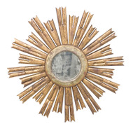 Rinaldo Starburst Mirror In Gold Leaf With Antique Mirror Center