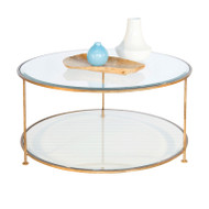 Rollo Gold Leaf Iron Round Coffee Table With Beveled Glass Tops