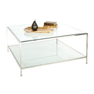 Quadro Nickel Plated Square Coffee Table With Beveled Glass Tops