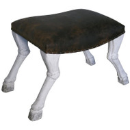 Claw Leg Saddle Stool https://cdn3.bigcommerce.com/s-nzzxy311bx/product_images//w/ Leather - White Weathered