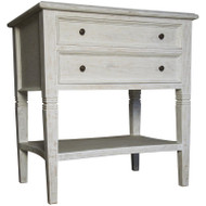 Oxford 2 Drawer Side Table - White Wash