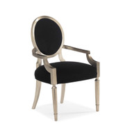 Chit-Chat - Black Velvet and Silver Leaf Dining Chair - Set of 2