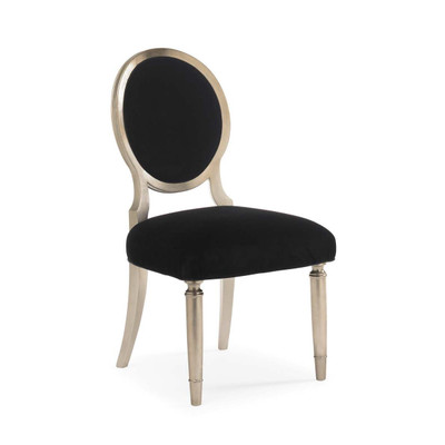 Chit-Chat - Black Velvet and Silver Leaf Side Chair - Set of 2