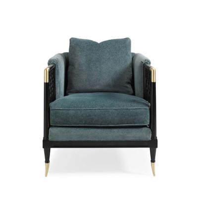 Lattice Entertain You - Upholstered Velvet Chair with Lattice Detail