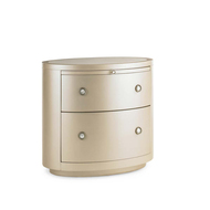 Pearl Drop - Pearl Finish Oval Two Drawer Nightstand