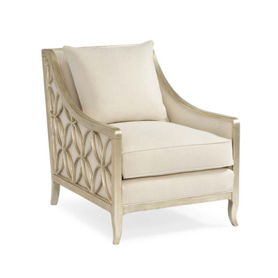 Social Butterfly - Pure Silver Decorative Exposed Wood Armchair
