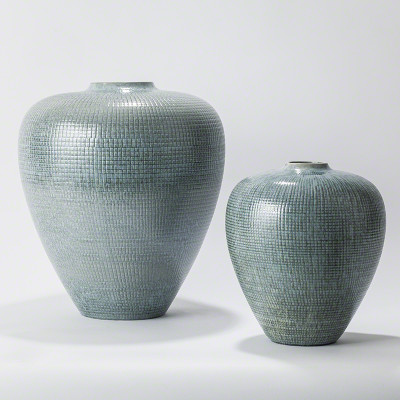 Check Bulbous Vase - Reactive Silver Blue - Lg