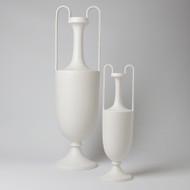 Elongated Grecian Amphora - Matte White - Sm