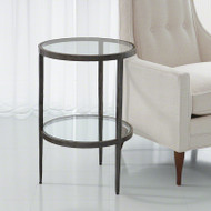Laforge Two - Tiered Side Table - Iron & Braised Brass