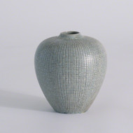 Mini Check Bulbous Vase - Reactive Silver Blue
